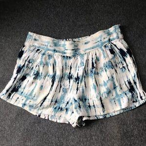 Anthropologie Ecote blue tie dye shorts